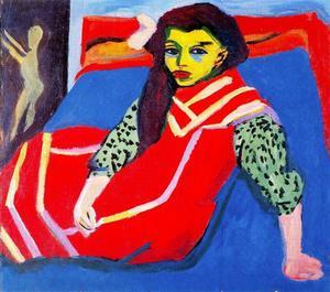 Kirchner Ragazza sul divano blu 1910